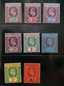 ST. VINCENT 1904 KE VII 1/2d to £1 SG 85 -93  Sc 82 - 89 wmk MCCA set 7 MLH/MH