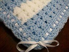 NEW Handmade Crochet Baby Blanket Afghan ( Blue White ) Newborn