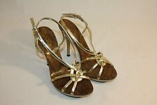 Qupid Womens Ladies Gold Open Toe High Stiletto Heels Shoes Size 6M