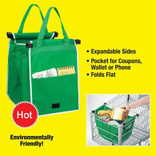 2Pcs Foldable Shopping Tote Bag Grocery Grab Fabric Carrier Clip-To-Cart Trolley