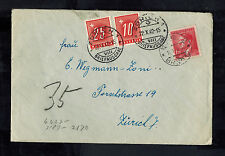 1942 Brunn Bohemia Germany Postage Due Cover to Switzerland with letter