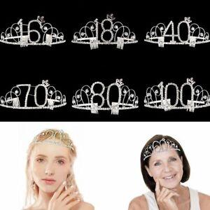 Anniversary Silver Crown Headband Birthday Mom Favor Gift Rhinestone Tiara