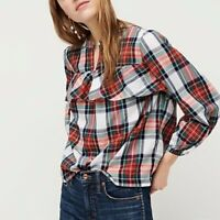 J Crew Women's Ruffle top in Snowy Stewart tartan Blouse Top AE890 Size Small