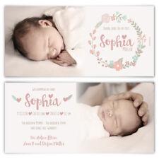 Geburtskarten Babykarten individuell Fotos Text Mädchen Junge Baby - Blumenkranz