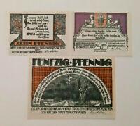 STAVENHAGEN REUTERGELD NOTGELD 10, 25, 50 PFENNIG 1921 NOTGELDSCHEINE (12036)