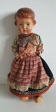 """Vintage Antique 15"""" Wood Dutch Doll Painted Face"""