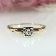 14k Yellow Gold .12ct Round Solitaire Diamond Engagement Ring Sz 7.5 ~ 1.2 GR