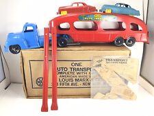 Vintage Marx Deluxe Pressed Steel Auto Transport Hauler W/ Orig Cars Ramps Box