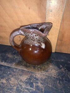 Vintage Original Stoneware Brown/Cream Small Creamer/Jug.Left Hand Pour.