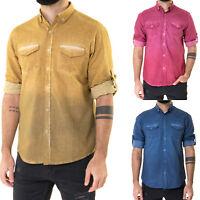 Herren Designer Regular Fit Langarm Hemd mit Krempelärmel|Vintage Look