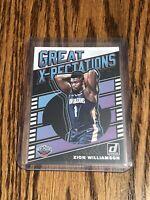 2019-20 Donruss Zion Williamson Great X-Pectations Insert RC Pelicans Rookie