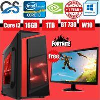 Fast Quality CiT F3 Black Red Gaming PC Bundle Intel i3 16GB 1TB Win10 GT730