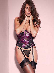 NWT Fredericks of Hollywood Jacquard Satin Underbust Lace Up Corset Top Bustier
