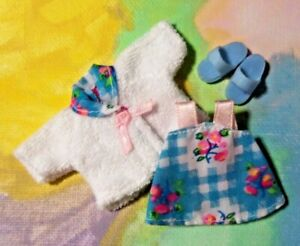 Kelly Doll Clothes *Mattel VVHTF Blue Pink Flower Pajama Gown w/Robe Slippers*