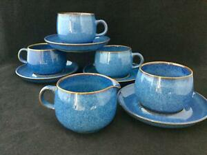 9 Piece Denby RAMS HEAD Blue Sugar Creamer + 4 Saucers + 3 Tea Cups SHIPS FREE!