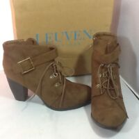 LEUVEN Alexander Women's Heeled Ankle Boots Brown Suede Sz 8.5 Fall Fashion
