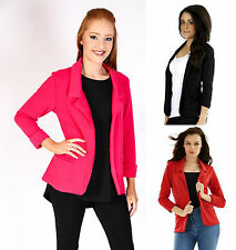 Ladies Womens Open Smart Office Casual Blazer Tailored Slim Jacket 8-16