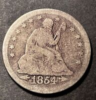 1854 Seated Liberty Silver Quarter 25c Obsolete Us Type Coin Damaged