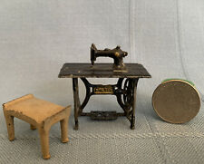 Antique dollhouse miniature sewing machine France Metal pliable lead/pewter