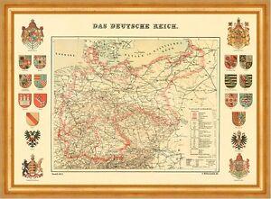Das deutsche Reich Karte von 1872 & 20 Wappen 16 A3 Gerahmt