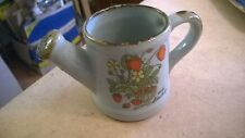 "MINIATURE WATERING CAN SHAPED CERAMIC VASE WILD STRAWBERRY DESIGN 3"" HIGH"