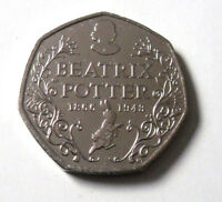 RARE BEATRIX-POTTER-150-YRS-FIFTY-PENCE-BRILLIANTLY-UNCIRCULATED ) 2016-50P-COIN