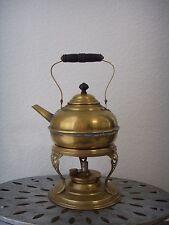 Antique Victorian Brass Copper Tea Pot Kettle w/ Burner Warmer Stand Wood Handle