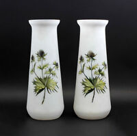 """Pair frosted glass vases """"Thistle"""" hand painted 99835260"""