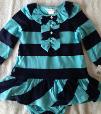 NWT Ralph Lauren 2 Piece Rugby Blue Teal Ruffle LS Outfit 9M
