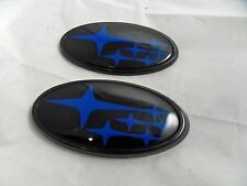 NEW Blue / Gloss Black Front & Rear Subaru™ WRX Sti Emblems / Badges Free Ship