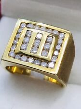 Pre owned 14k solid yellow gold Mens natural diamond ring 1.75 ct