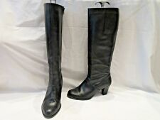 CLARKS BLACK LEATHER HIGH CALF ZIP UP BOOTS UK 5D (3242)