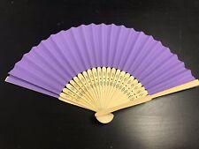 10x Pcs Purple Hand Held Fan Folding Bamboo Paper Wooden Wedding Events Decor