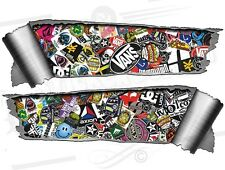 Pair Rolled back Ripped Metal Effect  Stickerbomb02 Vinyl Car Stickers JDM Drift