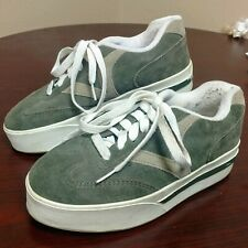 Vintage 90s Vans Big V Old Skool Green & Tan Leather Upper Platform sz 8.5 Rare
