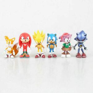 6 Pcs Sonic Classic The Hedgehog Action Figure Model Kids Doll Cake Topper PVC