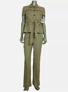 NEW Anne Klein Women's Petite Belted Pant Suit 4P Blazer w/ 2P Pants Khaki