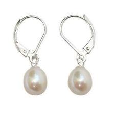 8-9mm White Akoya Cultured Pearl Sterling Leverback Drop Earrings