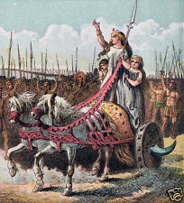 Boadicea Boudica British Iceni Celtic Army Chariot Warriors 5x5 inch Print