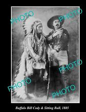 OLD LARGE HISTORIC PHOTO OF BUFFALO BILL CODY & SITTING BULL 1885, NATIVE INDIAN