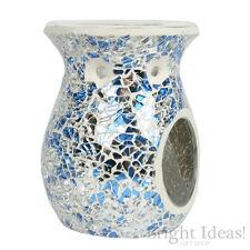 Village Candle-Blu e Argento Mosaico Cera Bruciatore FUSIONE-utilizzare con Cera Fonde Crostate