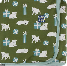 New listing New KicKee Pants Swaddling Blanket in Moss Puppies and Presents (2019)