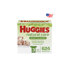 Huggies Natural Care Baby Wipes Sensitive Unscented 3 Refill Packs 624 Total