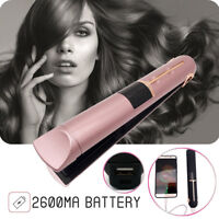 Portable USB Rechargeable 2in1 Hair Straightener Curler Flat Iron W/ Power  ❤