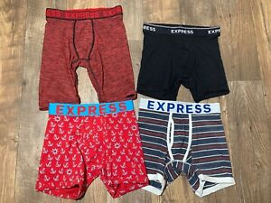 NEW EXPRESS $80 LOT 4 EXPRESS MENS Boxer Brief Sport UNDERWEAR BLUE  XSmall XS