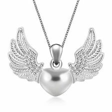 Love Silver Plated Heart Angel Wing Charm Pendant Necklace SOL