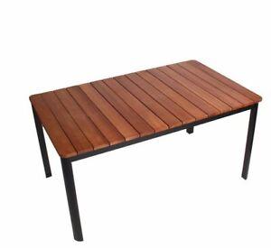 ALU Gartentisch Holztisch 150x90x74 cm Gartenmöbel Esstisch Nr. 87 Braun B-Ware