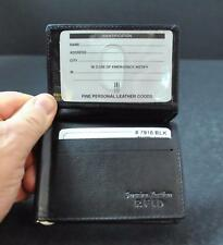 NWT ili World Leather Front Flap ID Card Holder Money Clip Inside Black GY30