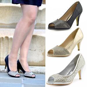 Womens Kitten Heel Shoes Peep Toe Ladies Wedding Sandals Diamante Party Moccasin