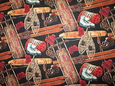 Vintage Sled Snow Shoes Ice Skates Skis Black Cotton Fabric BTHY